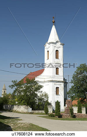 Stock Photo of Hungary, Veszprem, Mencshely. Old churches in the.