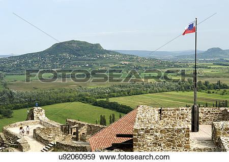 Stock Photograph of Hungary, Veszprem, Szigliget. A view from.