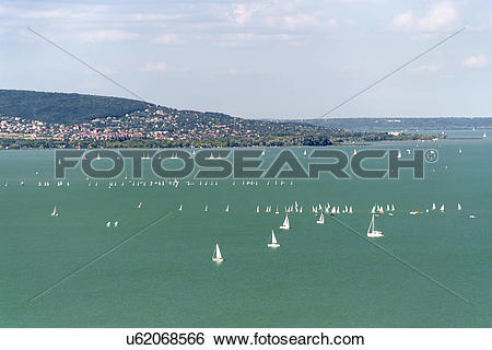 Stock Images of Hungary, Veszprem, Tihany. A view from Tihany of.