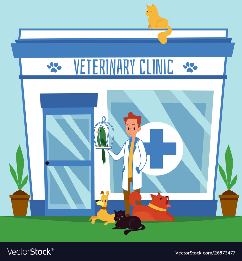 The exterior veterinary clinic with the.