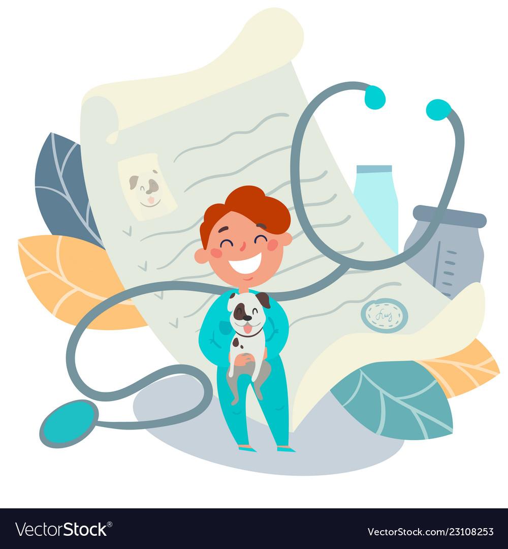 Kids profession pet doctor veterinarian.