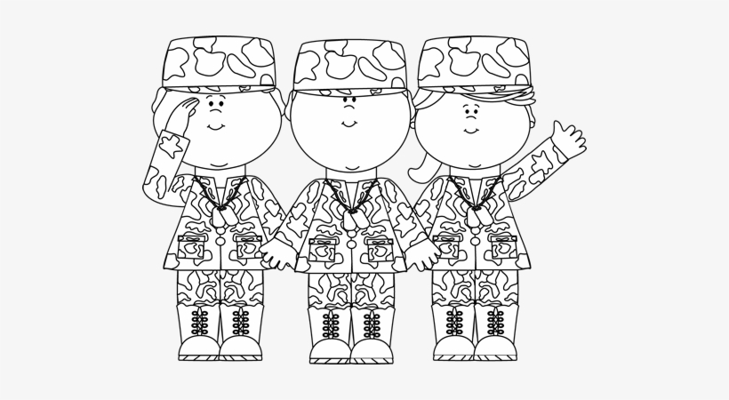 Black & White Group Of Soldiers Clip Art.