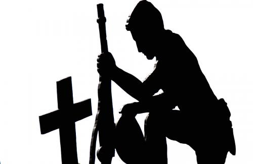 Related Pictures Kneeling Praying Soldier Silhouette.