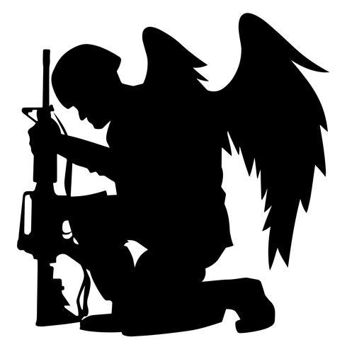 Military Angel Soldier With Wings Kneeling Silhouette Vector.