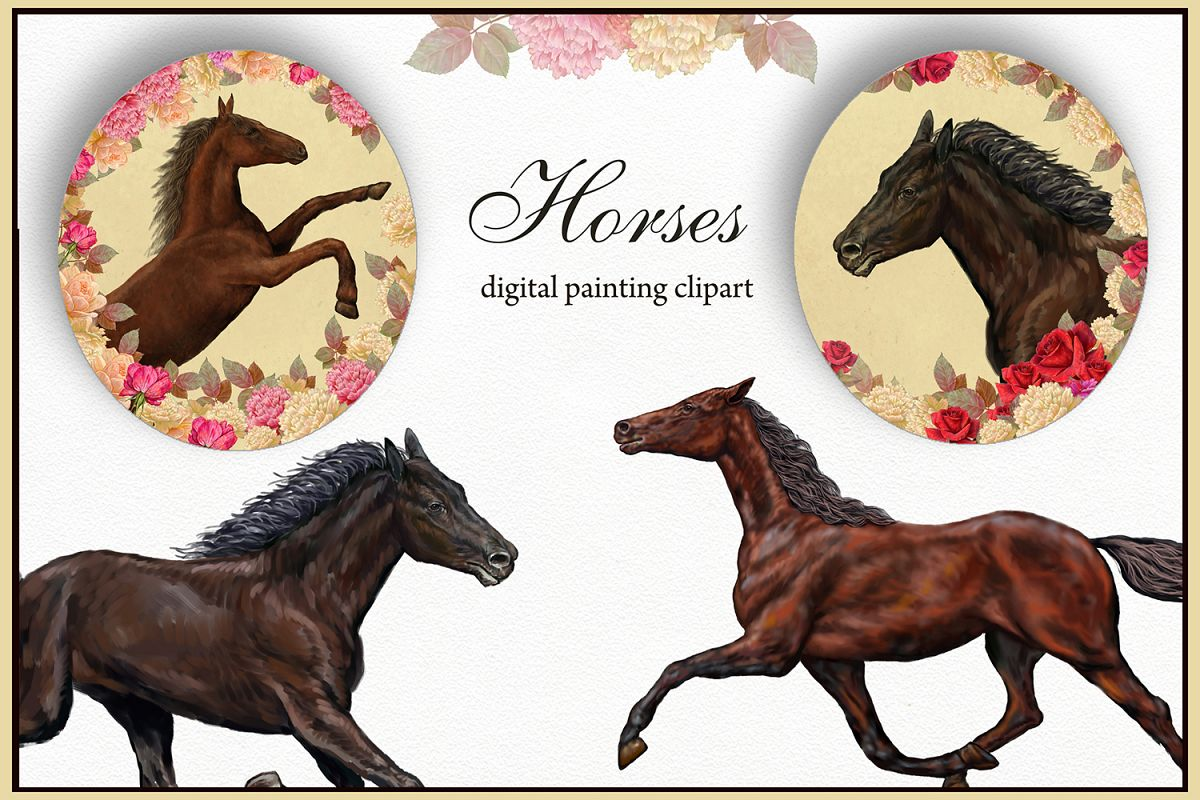 Horses illustration, Digital Clipart Farm Animals.