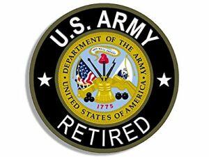 Details about 4x4 inch Round U.S. Army RETIRED Sticker (Bumper Vet Veteran  us Military logo).