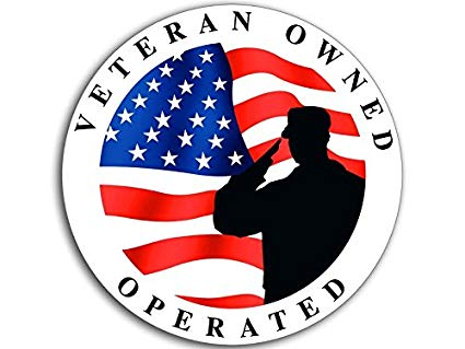 Round Veteran Owned & Operated Soldier Sticker (Vet Patriotic Flag Decal  Business).