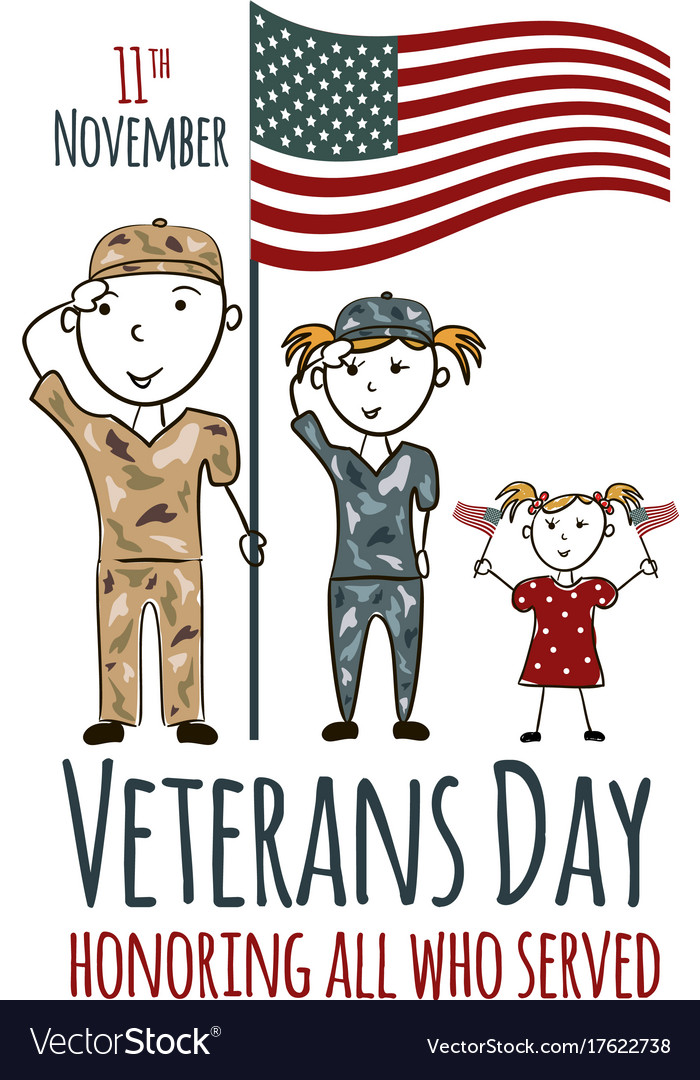 Veterans day greeting card with kids.