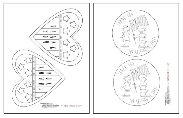 Veterans Day Cards for Kids to Color.