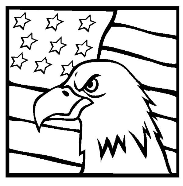 American Eagle and US Flag Veterans Day Coloring Page.