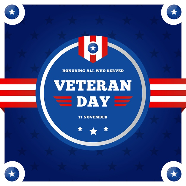 Flat veterans day with american flag logo Vector.