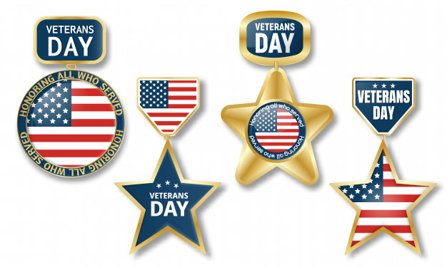 Veterans day logo set Vector.