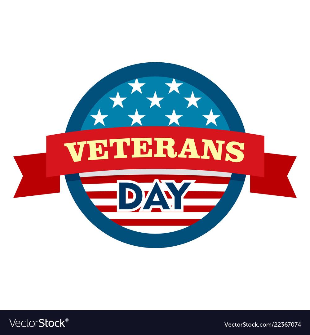 Heroes veterans day logo flat style.
