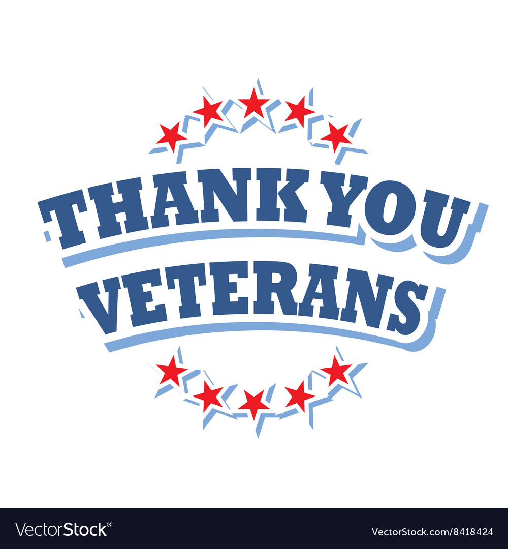 Thank you veterans logo isolated on white.