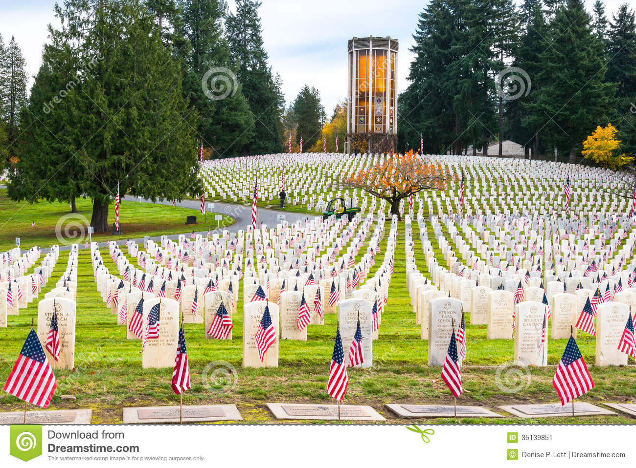 Veterans Memorial Cemetery With Chimes Tower Editorial Photo.