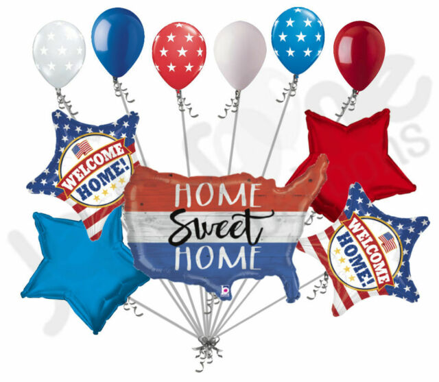 11 pc Patriotic America Welcome Home Balloon Bouquet USA Veterans Day  Military.