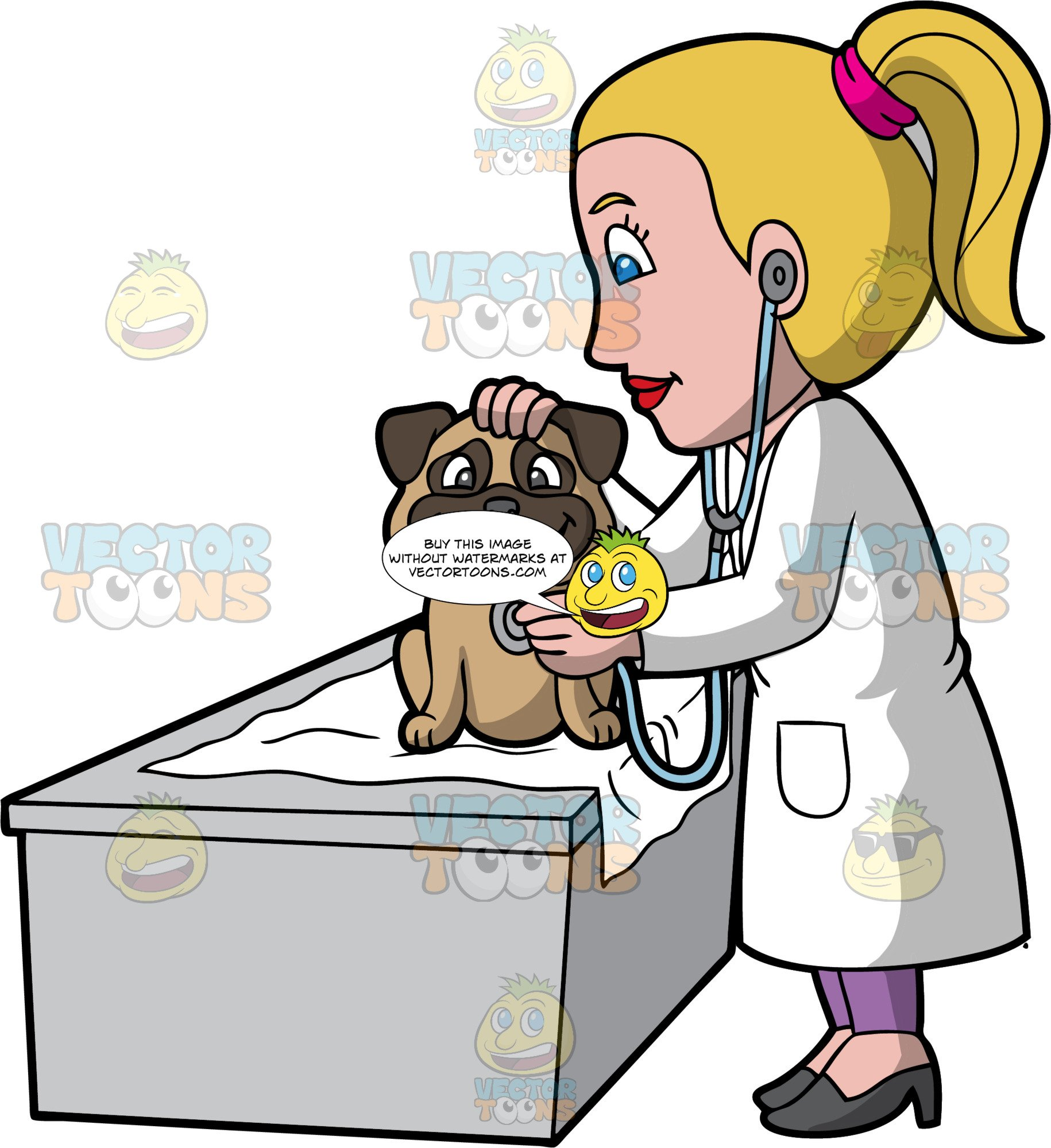 A Female Veterinary Doctor Examining A Happy Dog.