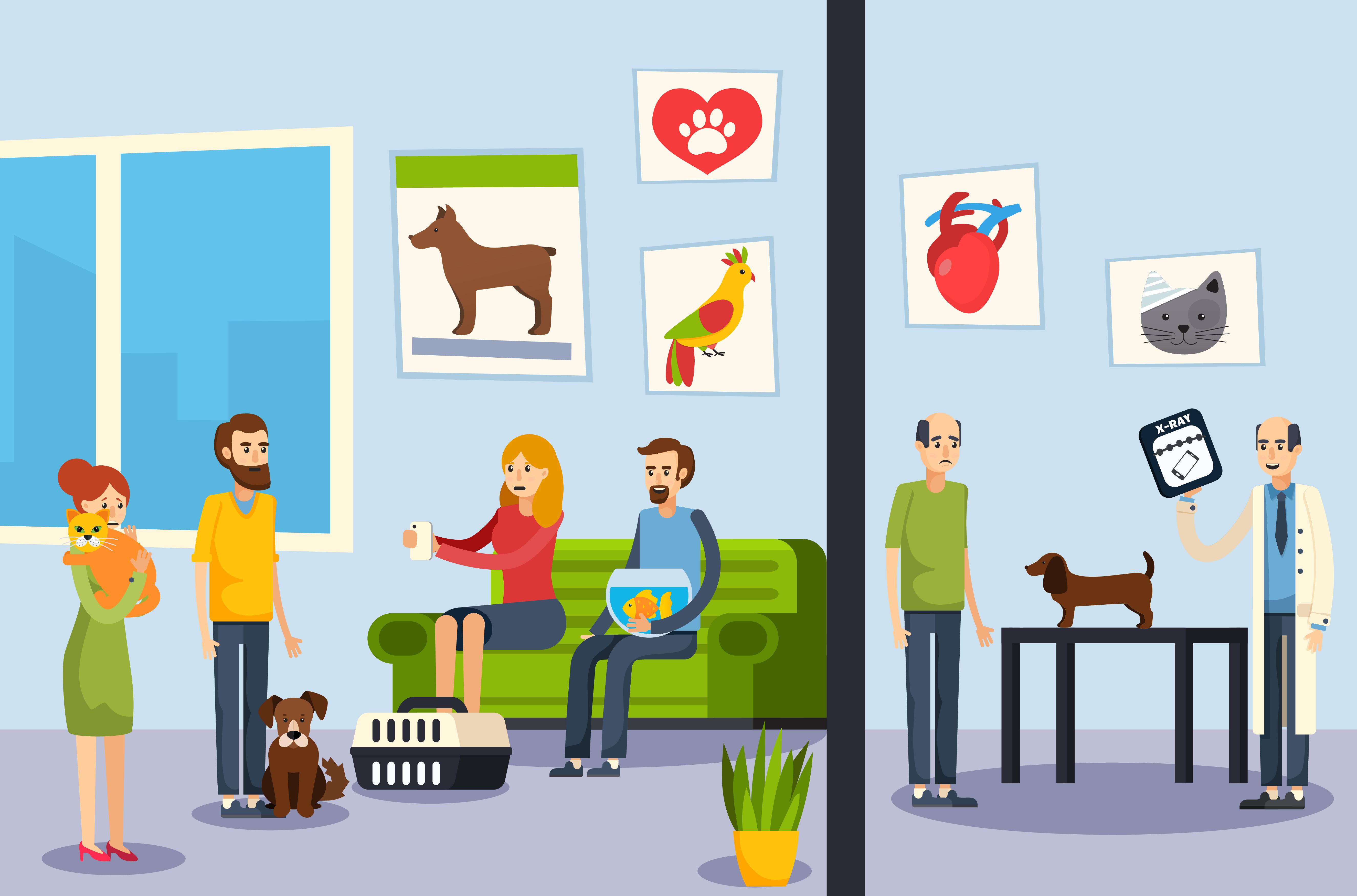 Vet Clinic Flat Orthogonal Poster.
