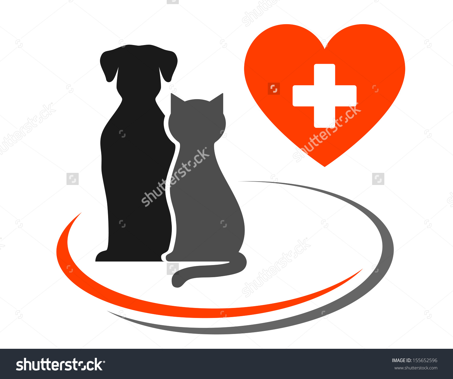 Veterinary Icon With Red Heart, Cross And Pets Stock Vector.