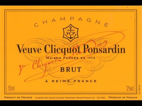 Veuve Clicquot Ponsardin Brut Champagne 750ml.