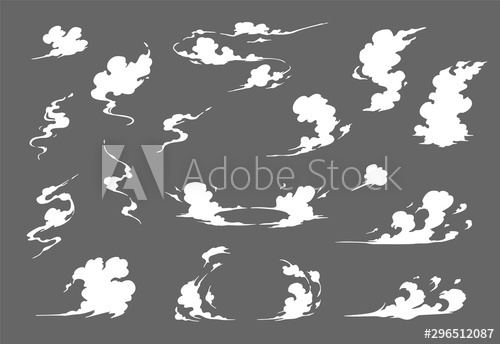Smoke illustration set for special effects template. Steam.