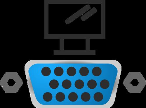 VGA port icon vector image.