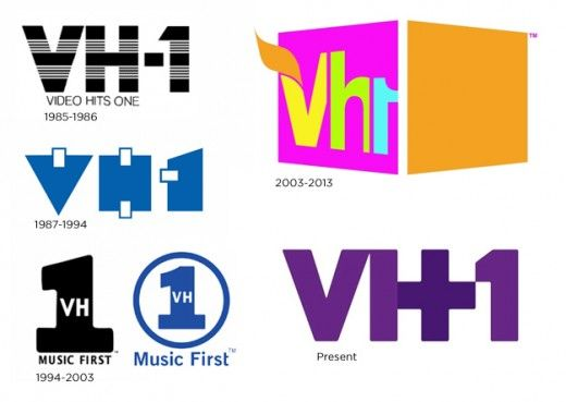 The VH1 logo has changed a lot, some of the lettering has.