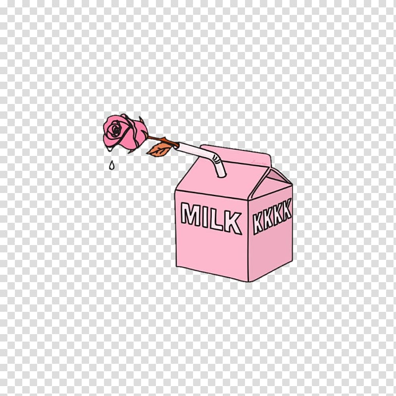 Pink rose and pink milk carton illustration, Aesthetics Art.