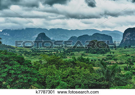 Stock Photography of The beautiful Vinales Valley in Cuba.