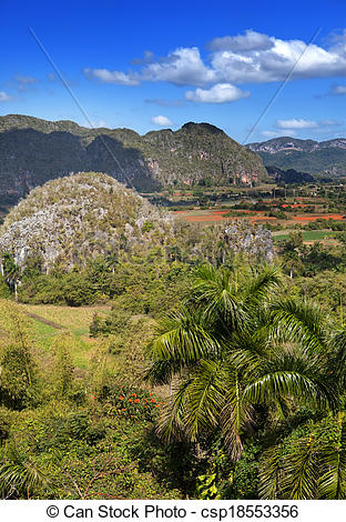 Stock Images of Cuba. Tropical nature of Vinales Valley.