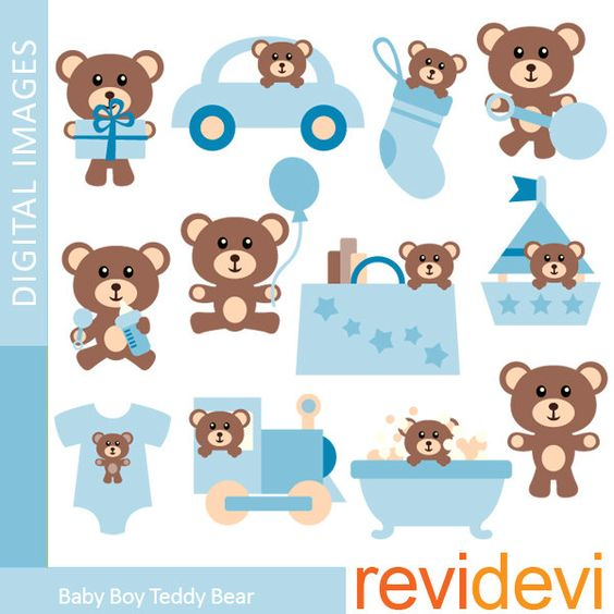 Clipart Baby Boy Teddy Bear 07356.. Commercial use clip art. $5.95.