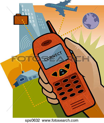 Clip Art of Connecting to the internet via cell phone sps0632.