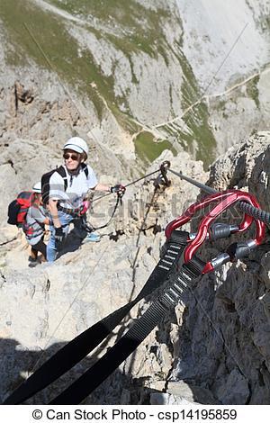 Stock Images of climbing on Via Ferrata.