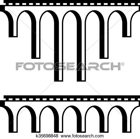 Clip Art of classical viaduct bridge black symbol k35698848.