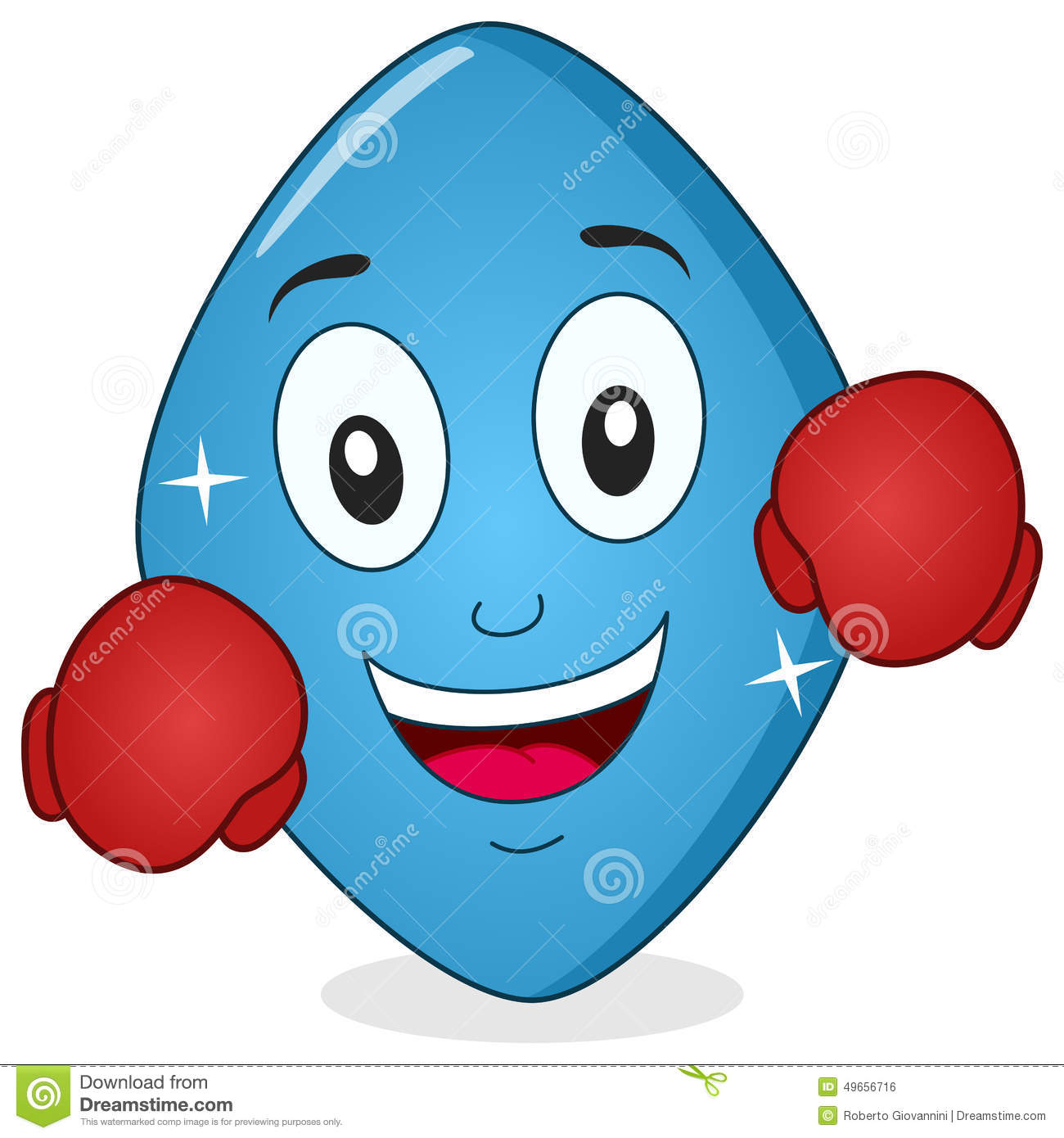 Funny Blue Pill Viagra With Boxing Gloves Stock Vector.