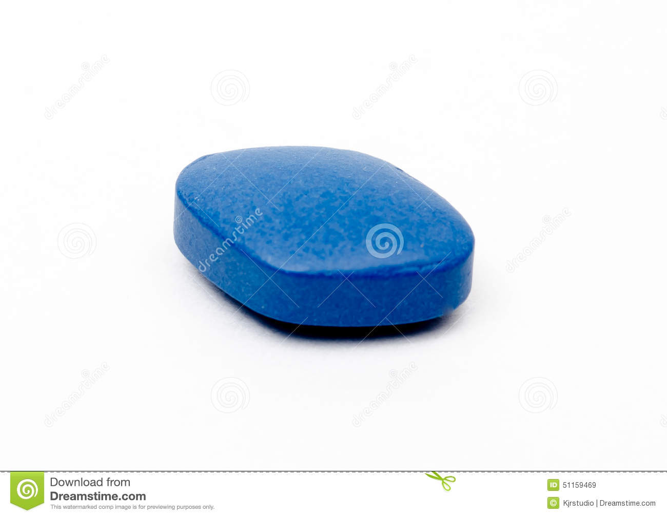 Generic Viagra Blue Pill Isolated. Stock Photo.