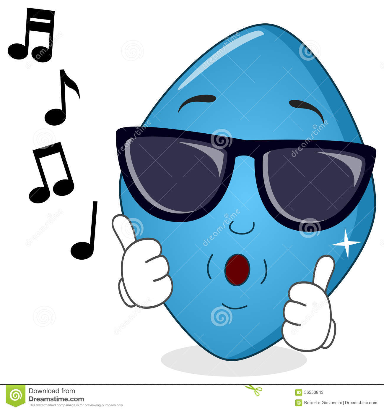 Blue Pill Viagra Whistling With Sunglasses Stock Vector.