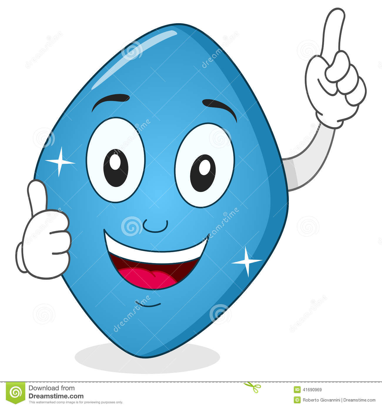Blue Pill Viagra Character With Thumbs Up Stock Vector.