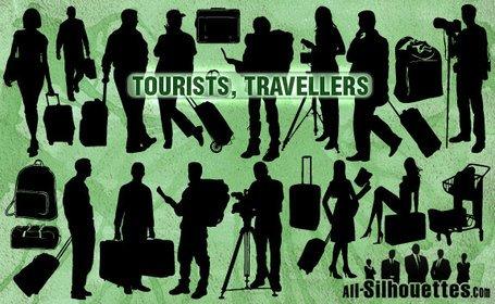 21 vector turistas viajeros siluetas Clipart Picture.