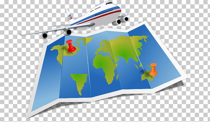 Mapa de viaje aéreo del mundo, viajeros s PNG Clipart.