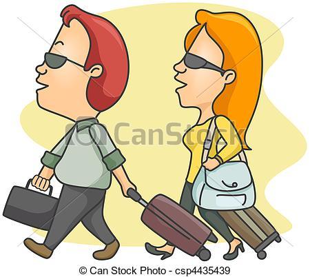 Viajeros con ruta de recorte..