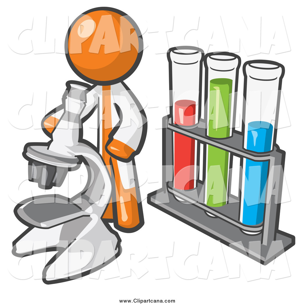 Clip Art of a Orange Scientist Using a Microscope by Vials by Leo.