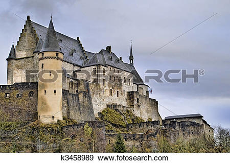 Stock Photograph of Beautiful Image of Vianden Castle. k3458989.