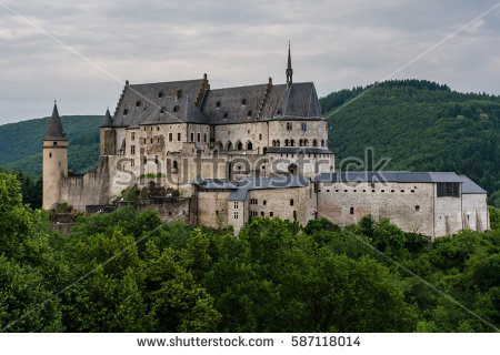 Vianden Castle Located Vianden North Luxembourg Stock Photo.