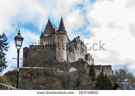Vianden Castle In Cloudy Winter Day, Luxembourg Stock Photo.