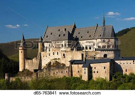 Stock Photography of Luxembourg, Vianden, Vianden Chateau (b. 15th.