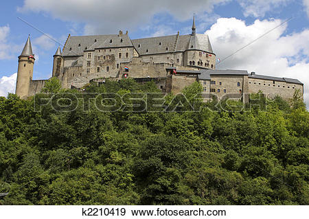 Stock Photograph of Vianden castle in Luxembourg k2210419.