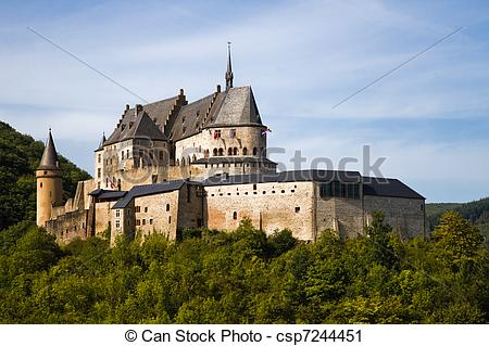 Stock Photography of Medieval Castle of Vianden, Luxembourg.