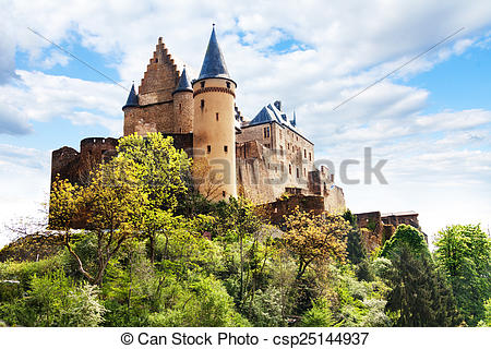Stock Photos of Vianden castle fortifications, Luxembourg on top.