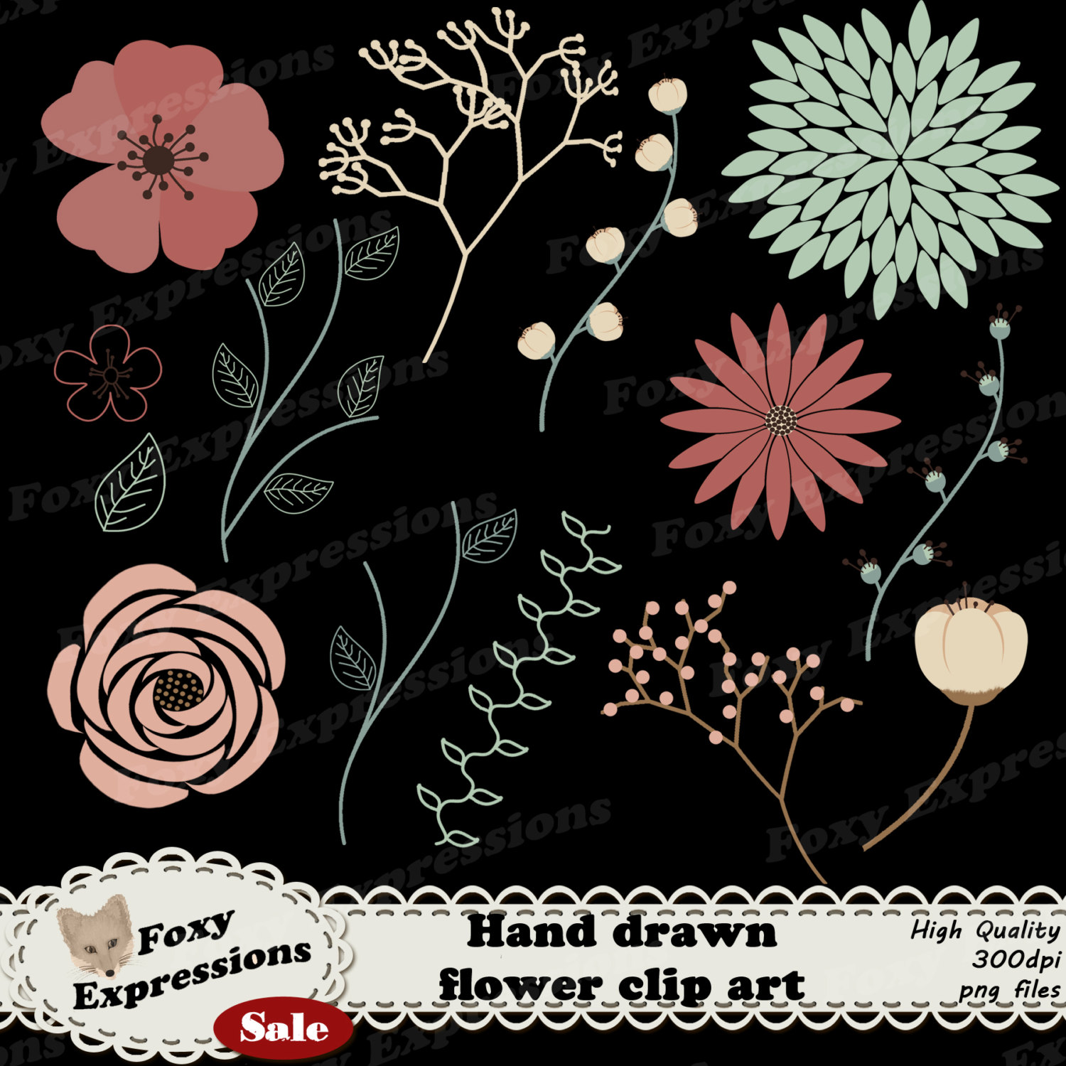 Hand drawn flower clip art in beautiful shades on warm pinks and.